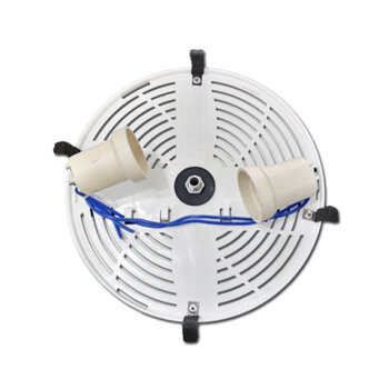 Plafon da Luminária Ventilador de Teto ALISEU Terral Branco - Plafon c/4-Pinças Montado c/02 Soquetes+Nipel de Fixação - Suporte da Cúpula Plástica