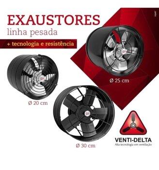 Exaustor para Churrasqueira - Diâmetro 40cm Alta Vazão 5000m3/h Bivolts 250W - Exaustor Venti-Delta Linha Pesada para Coifas/Cabines de Pintura