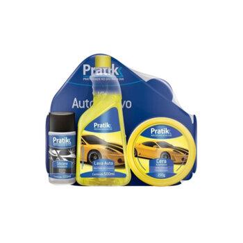 Kit Automotivo Cera + Silicone + Shampoo - Pratik - Cera + Silicone + Shampoo Automotivo - Kit Pratik