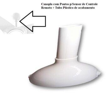 Tubo Plástico Branco para Ventilador de Teto Ventisol Flow Ventilador Vórtice - Tubo de Acabamento com Canopla para Controle Remoto