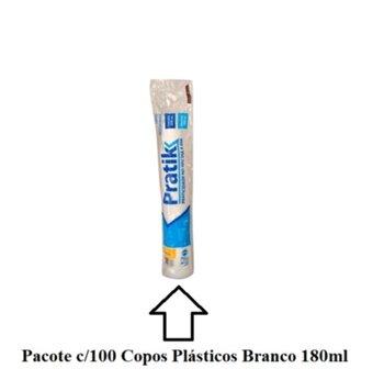 Copo Descartável Pratik Branco 180ml Embalagem com 100 Unidades
