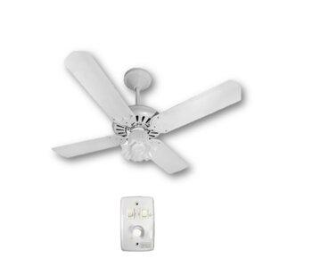 Ventilador de Teto Super Ciclone Tropical 127V10,0UF Branco 4Pás MDF Duble Branca/Mogno c/Luminária Tulipa Flor Plástica - Chave Controle Rotativa