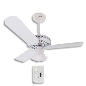 Ventilador de Teto Super Ciclone Meridional 220V03,0uF Branco 3Pás Alumínio Brancas c/Luminária Tulipa Flor Plastica - Chave Controle Rotativo