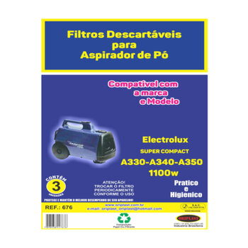 Saco Descartável para Aspirador de Pó Electrolux SUPER COMPACT A-330 A-340 A-350 110w  - *VENDIDO P/