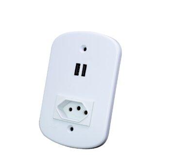 Tomada 1NBR protegida 10a c/02-Entrada USB 5V-2.1A - USB com Tomada Protegida