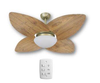 Ventilador de Teto Volare Dunamis Gold VD42 127v10,5uF Chave 3Velocidades 4Pás MDF Radica Frejo Luminária p/2-Lâmpadas Soquete E27