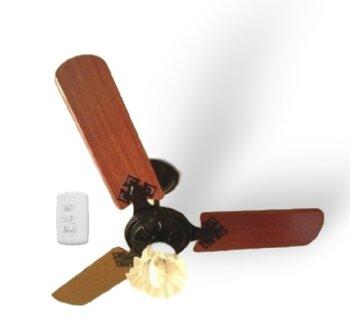 Ventilador de Teto Loren Sid Preto M3 220V - Globo Tulipa/Tulitha Flor Plástica - 3 Pás ABS Retas cor Mogno - Chave 3 Velocidades