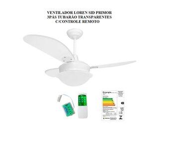 Ventilador de Teto Loren Sid Perola Primor 127v08,5uF M3 Branco 3Pás Tuba Transparentes 3P02I/TR - c/Controle Remoto Total
