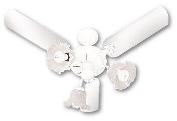 Ventilador de Teto Venti-Delta New Beta 127v Branco 3Pás MDF Retas Branca - Luminária p/3Luz 3Tulipas Flor - Chave 3Velocidades