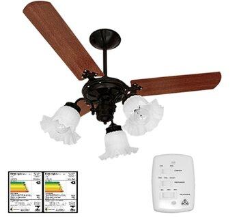Ventilador de Teto Venti-Delta New Beta 127v Preto 3Pás MDF Retas Mogno - Luminária p/3Luz 3Tulipas Flor - Chave 3Velocidades