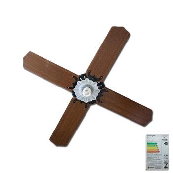 Ventilador de Teto Super Ciclone Meridional 110V10,0uF Preto 4Pás Alumínio Pretas c/Luminária Tulipa Flor Plástica c/Chave Controle Rotativa