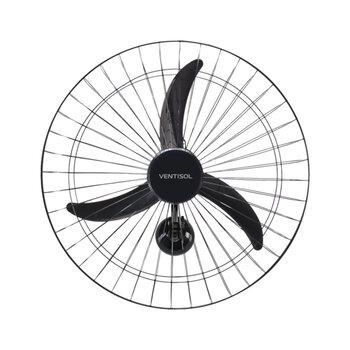 Ventilador de Parede 60cm Ventisol Bivolts Comercial 200w Preto - Hélice 3Pás Chave Controle 3Velocidades