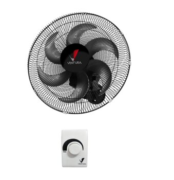 Ventilador de Parede 50cm Ventura Bivolts 170w Preto - Grade Plástica c/Controle de Velocidade - Hélice 6Pás - Ventilador Ventura de Parede 50cm