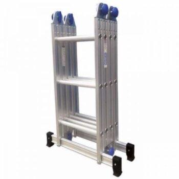 Escada de Alumínio 12 Degraus Articulada - 3x4 Multifuncional - Real Escadas de Alumínio Articulada 3x4 - 3 Lances c/4 Degraus cada