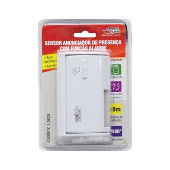 Sensor Anunciador de Presença com Função Alarme c/Bateria 9 Volts - Force Line/ForceLine