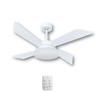 Ventilador de Teto Volare Premium Branco 4Pas MDF Aires Tech Brancas 127v10,5uF Chave 3Vel c/Luminaria Londres p/2-Lâmpadas