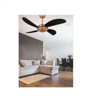 Ventilador de Teto Volare Fly Office 127v 10,5uF Cobre 4Pas Fly Tuba Tabaco - Chave 3Velocidades - Ventilador Volare - Área Gourmet - Lustre Cego