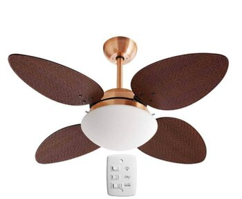 Ventilador de Teto Volare Premium Cobre 4Pás Pétalo Palmae Tabaco Ratan 127v10,5uF Chave 3Velocidades c/Luminária Londres Vidro Redondo