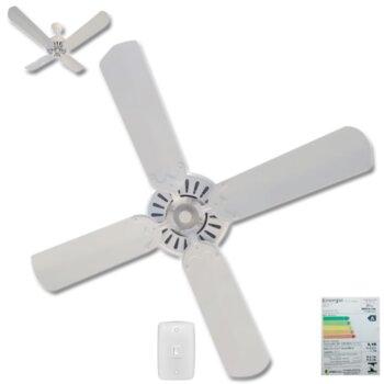 Ventilador de Teto Comercial Super Ciclone 127v10,0uF 135W Apolo Motor Branco 4Pás Alumínio Branca - Chave c/Reversão