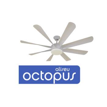 Ventilador de Teto Aliseu Octopus Bivolts 127V-220V Luminária LED23W Controle Remoto Total - Ventilador de Teto LED 8 pás Branco Octopus Aliseu Bivolt