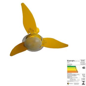 Ventiador de Teto RioPreLustres Noble 1049 Amarelo 3Pás ABS Amarelas 127v Chave 3Vel c/Luminária em Vidro Temperado
