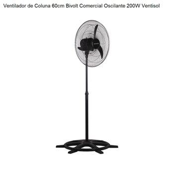 Ventilador de Coluna 60cm Ventisol Comercial Oscilante Bivolt 200W Preto Grade Metal Preta - Hélice 3Pás - Chave Controle de Velocidade