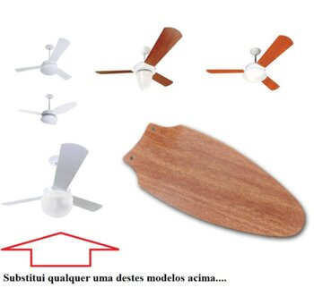 Pá Hélice para Ventilador de Teto SPIRIT ZAYT VT01/VT02 - MDF Mogno Modelo Bala - Vendida p/Unidade - Orignal + SALDÃO