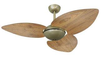 Ventilador de Teto Volare Dunamis Office Gold 127v10,5uF Chave 3Velocidades 3Pás MDF Radica Frejo - c/Acabamento Cego SEM Luminária