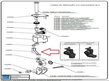 Braço de Oscilação do Ventilador Tron 50/60cm Atual - Braco Suporte de Ligação do Motor ao Mecanismo Oscilante/Suporte do Motor
