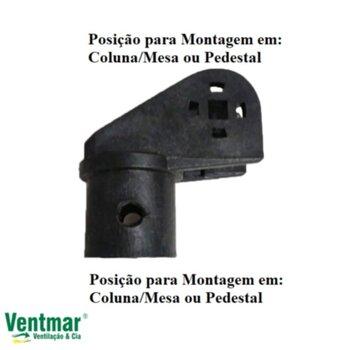 Suporte do Motor Ventilador TRON - Suporte de Fixação do Ventilador de Coluna/Pedestal ou Parede Preto - *Cachimbo/Suporte do Motor Loren Sid