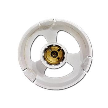 Suporte para Globo de Ventilador de Teto - Plafon Plástico BRANCO com Capa p/Miolo de Soquete - Suporte para Luminária de Ventildador com Globo Pera