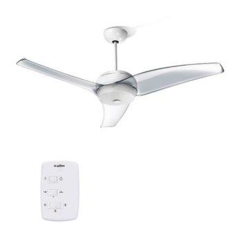 Ventilador de Teto Latina 3Pás CRISTAL 220Volts Controle Parede 3Velocidades Luminária p/2-Lâmpadas - Silencioso - Consumo A