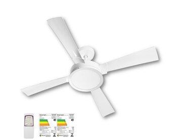 Ventilador de Teto Venti-Delta Magnifico 127v09,0uF 150W Branco K2 4Pás Luminária LED24W Redonda 6000K Controle Remoto - Consumo A
