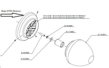Plafon Plástico Suporte para Globo Ventilador Tron Búzios MAX Preto - Bojo Plástico Búzios Max AT Preto Sem Soquete - Encaixe 12,0cm