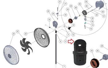 Suporte Articulador Basculante do Ventilador Dômina 50/60cm Preto - Forquilha de Fixação do Motor para Ventildor de Coluna ou Mesa DÔMINA