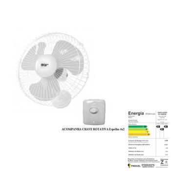Ventilador De Parede 30cm Loren Sid 220v 130w Branco Grade Metal Branca - Chave Com Controle De Velocidade - Capacitor 02,0uF