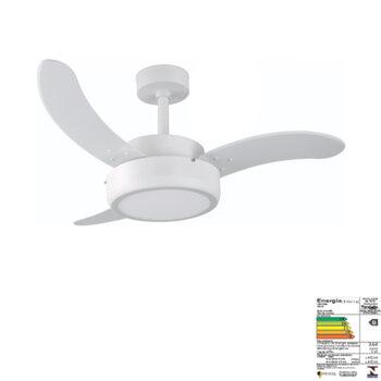 Ventilador de Teto RioPreLustres Evolution 1052 127v120w Branco Texturizado 3Pás MDF Curva Branca Chave 3Velocidades Luminária LED 24W