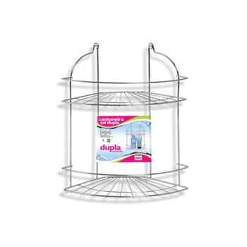 Porta Shampoo Cantoneira em Metal Dupla Cromada - Cantoneira Porta Shampoo Sol Dupla R264 Organizador 2 Prateleiras em Aço Cromado