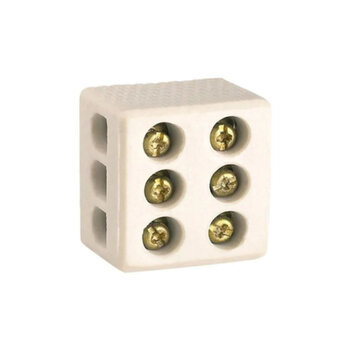 Conector de Porcelana para Conexões de fios e cabos elétricos de até 10,0mm - Conector para Fios 6,0mm de Chuveiro