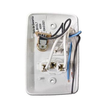 Chave para Ventilador de TetoControle de Velocidade Rotativo Bivolts 0400W 1 Tecla p/Lâmpada + 1 Tomada 3Pinos - Espelho 4x2
