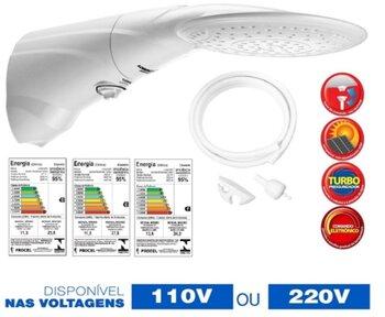 Chuveiro Ducha Lorenzetti Advanced Eletrônica Turbo 220Volts 7500Watts - com Pressurizador e Haste para Reguladora de Temperaturas