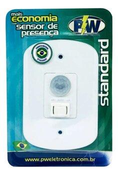 Sensor de Presença PW com Fotocélula e Tecla de 3 Funções - Placa Espelho 4x2 com Interruptor Bivolt - Sensor Liga Desliga ou Automático