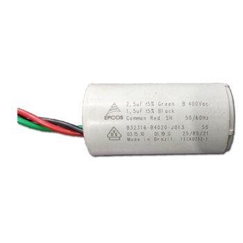 Capacitor para Ventilador de Teto Venti-Delta Lunik 220Volts 04,0uF 3Fios 1,5+2,5mF 250Vac - Ventiladores Tron, Loren Sid, Volare, Arge, etc...