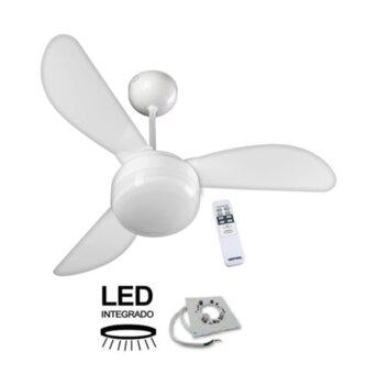Ventilador de Teto Ventisol Fênix 127v Branco 3Pás Plásticas modelo Tuba com Controle Remoto 3Velocidades e Luminária em LED20W