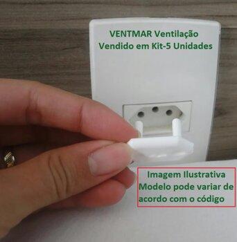 Protetor de Tomada Elétrica Branco Plástico Redondo Encaixe Modelo Novo Padrão NBR Kit c/5Unidades - Tampa Protetora de Tomada Evite Choques