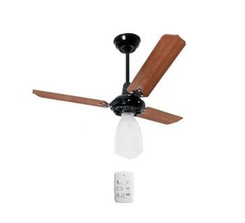 Ventilador de Teto Loren Sid Preto M3 220V - Globo Lumi Plástico - 3 Pás Retas MDF cor Mogno - Chave 3 Velocidades