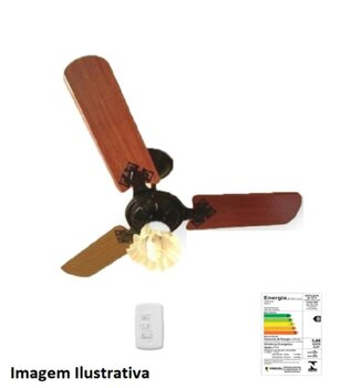 Ventilador de Teto Loren Sid Diplomata Tulitha M3 220V cor Preta - Globo Tulipa Flor Plástica - 3 Pás MDF Reta cor Mogno - Chave 3 Velocidades