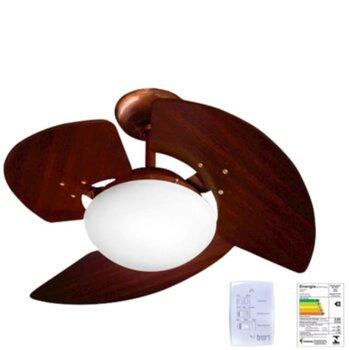 Ventilador de Teto Tron Aventador Stilo 127v08,5uF 130w Cobre 3Pás MDF cor Marrom Luminária Vidro p/2-Lâmpadas Chave 3Velocidades -