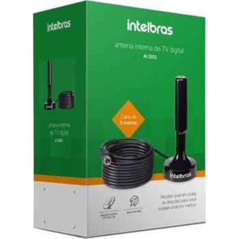 Antena Interba para TV Sinal HDTV - Antena Intelbras UHF/HDTV Ai2031 Preta com Cabo de 5 metros