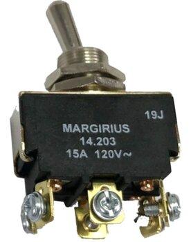 Interruptor de Alavanca Metálica Bipolar 15A Margirius 14203 - Botão 3 Posições Liga-Desliga-Liga